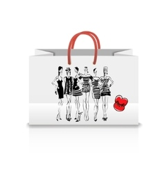 Shopping Bag with a print - Fashion vector image