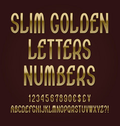 slim golden letters numbers dollar yen pound vector image