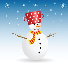 snowman with snowflake color vector image