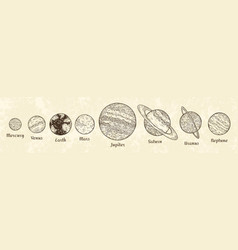 solar system planets engraving hand drawn vector image