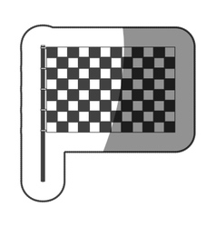 Sticker monochrome with racing flag vector