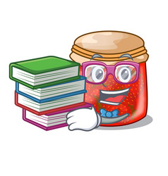 student with book strawberry jam glass isolated on vector image