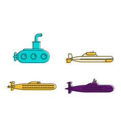 Submarine icon set color outline style vector