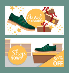 Summer fashion green man shoe banners vector