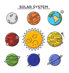 sun and solar system planets astronomy and cosmos vector image