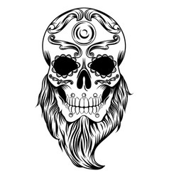 tattoos a day dead skull with beard vector image