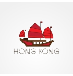 Tourist junk the symbol of gonkong harbour Modern vector