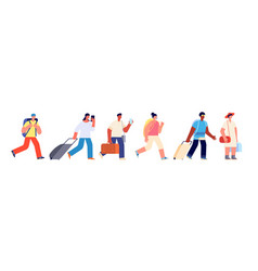 tourists walking happy young tourist travel vector image