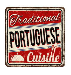 traditional portuguese cuisine vintage rusty vector image