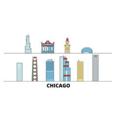 United states chicago flat landmarks vector