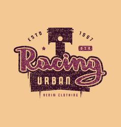 urban racing emblem for t-shirt vector image