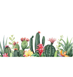 Watercolor banner tropical flowers and vector