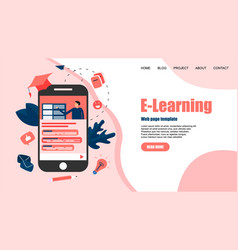 webpage template with online education vector image