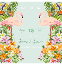 Wedding Card Tropical Flowers Flamingo Bird vector