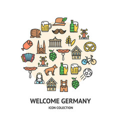 welcome germany round design template black thin vector image