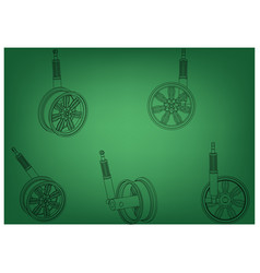 wheel with shock absorber on a green vector image
