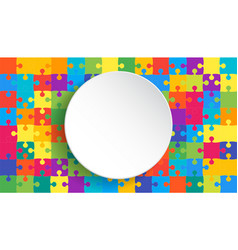 white circle banner colorful background puzzle vector image