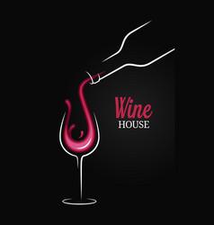 wine bottle with wine glass splash on black vector image