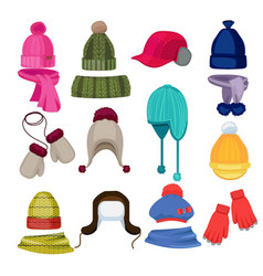 winter hat cartoon headwear cap scarf and other vector image
