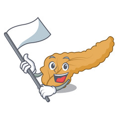With flag pancreas mascot cartoon style vector