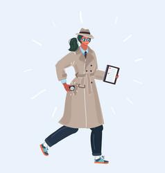 Woman spy in trench coat vector