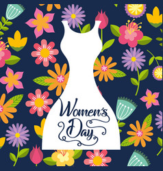 Womens day card flowers vector