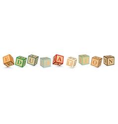 Word EDUCATION written with alphabet blocks vector image