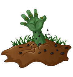 Zombie hand coming out of the earth vector