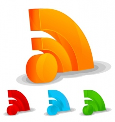 RSS feed icon set vector image vector image