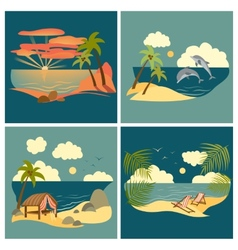 Sea landscape icons set vector image vector image