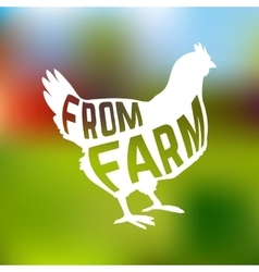 Silhouette of farm Hen with text inside on blur vector image vector image
