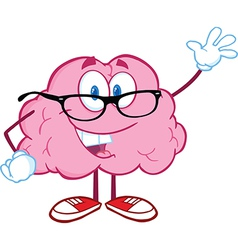 Smiling Brain Teacher Waving For Greeting vector image