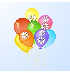 balloons in the form of a circle with flowers vector image vector image