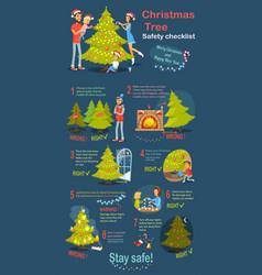 christmas tree safety cheklist instruction vector image vector image