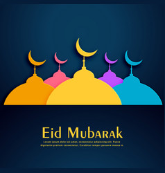 colorful mosques design for eid festival vector image