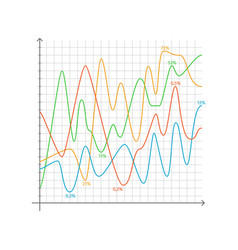 graphs with percentage on vector image