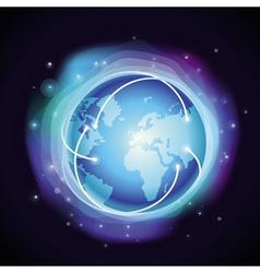 internet concept - glowing globe vector image vector image