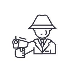mafia man with gun concept thin line icon vector image