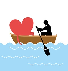 Man and love and ride in boat Lovers of sailing vector image