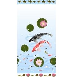 Seamless pattern set with lotus and carps koi vector image