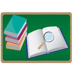 books and magnifying glass vector image vector image