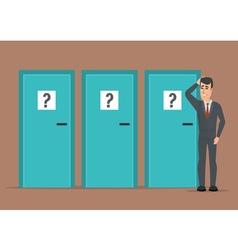 Businessman standing beside three doors unable to vector image