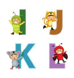 english alphabet with kids in animal costume i-l vector image vector image