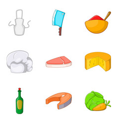 fish steak icons set cartoon style vector image vector image