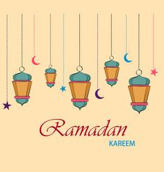 Ramadan kareem greeting card for holiday hanging vector