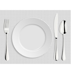 realistic empty plate with spoon knife and vector image
