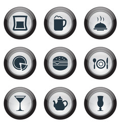 Set of simple cafe icons elements pepperoni pub vector