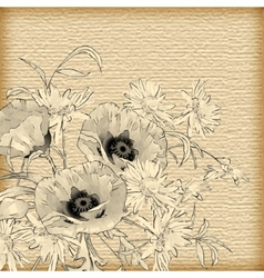 Vintage Hand Drawing Flowers vector image vector image