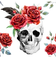 Watercolor skull and roses pattern vector image vector image