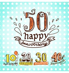 Anniversary signs set vector image vector image